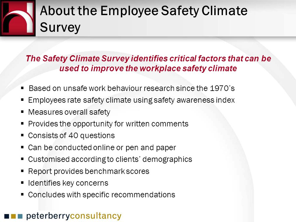 About the Employee Safety Climate Survey