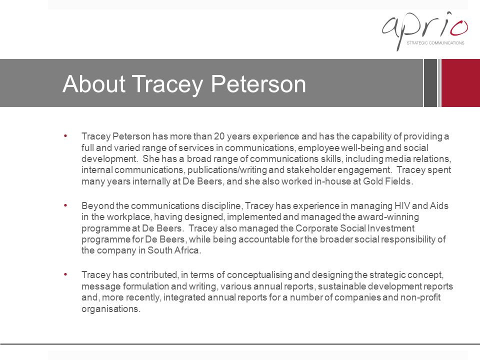 About Tracey Peterson