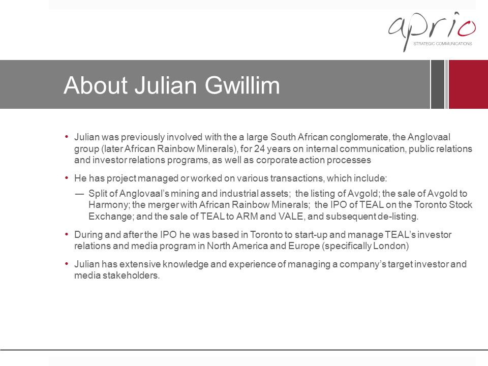 About Julian Gwillim