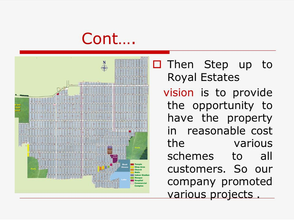 Cont…. Then Step up to Royal Estates