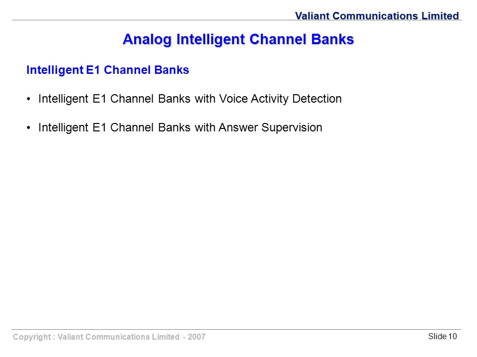 Analog Intelligent Channel Banks