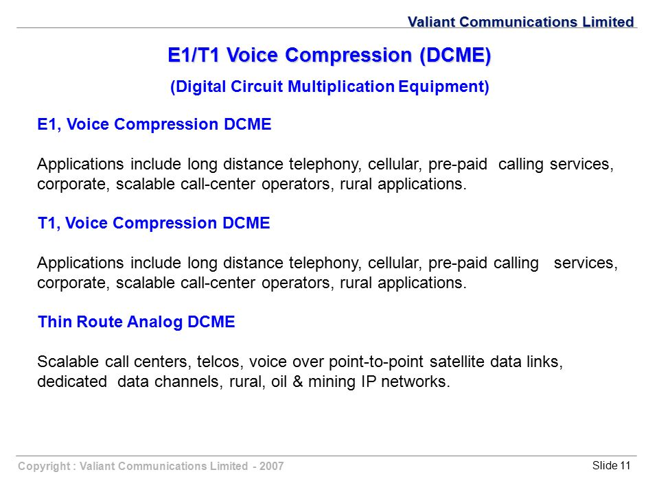 E1/T1 Voice Compression (DCME)