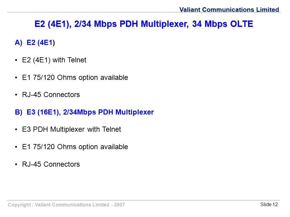 E2 (4E1), 2/34 Mbps PDH Multiplexer, 34 Mbps OLTE