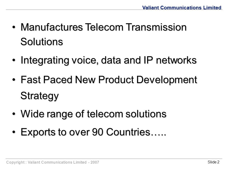 Manufactures Telecom Transmission Solutions