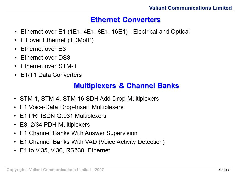 Multiplexers & Channel Banks