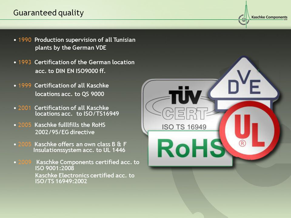 Guaranteed quality • 1990 Production supervision of all Tunisian