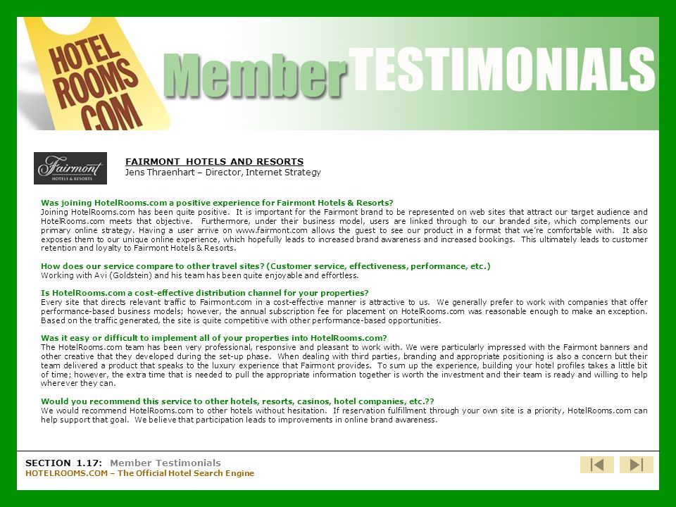 Member Testimonials – Fairmont Hotels & Resorts