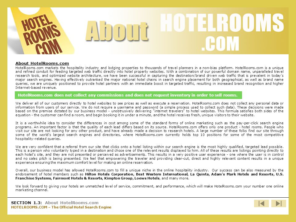 SECTION 1.3: About HotelRooms.com