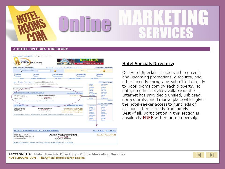 Cont'd - Hotel Specials Directory