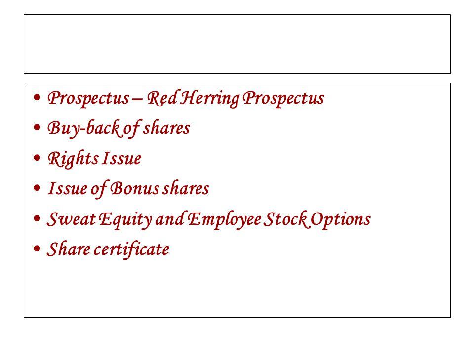 Prospectus – Red Herring Prospectus