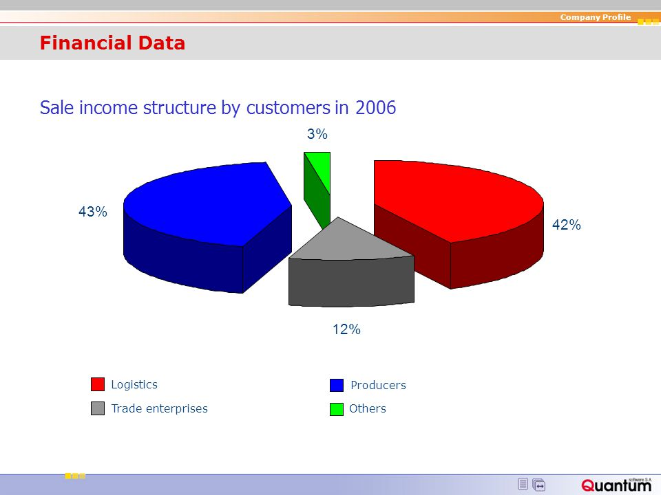 Sale income structure by customers in 2006