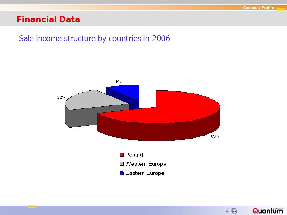 Financial Data Sale income structure by countries in 2006