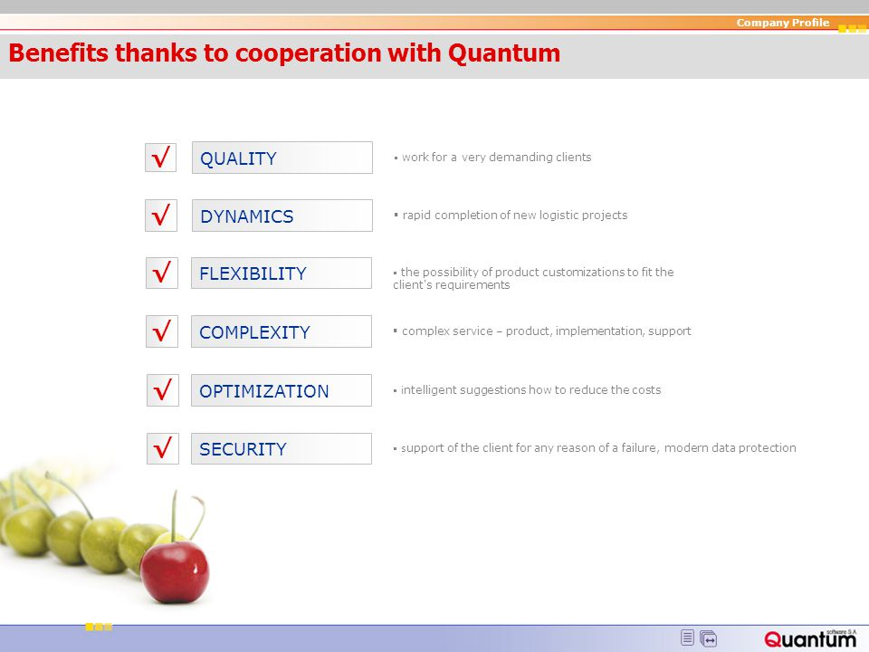 Benefits thanks to cooperation with Quantum