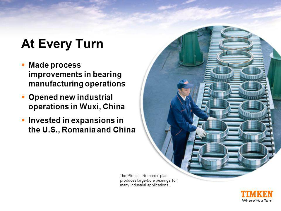 At Every Turn Made process improvements in bearing manufacturing operations. Opened new industrial operations in Wuxi, China.