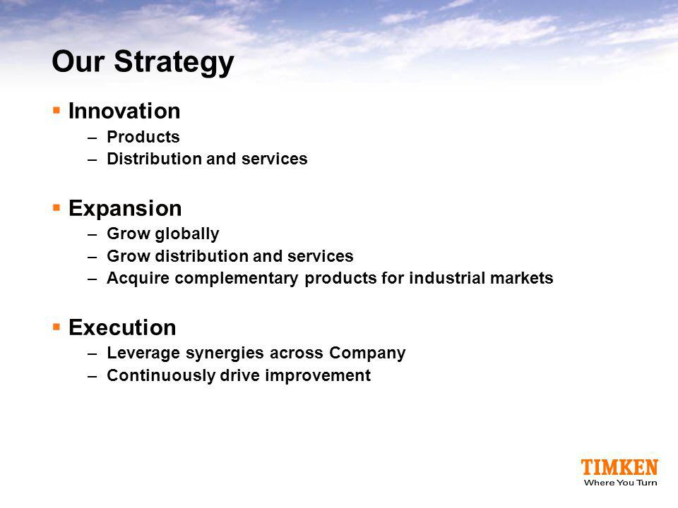 Our Strategy Innovation Expansion Execution Products