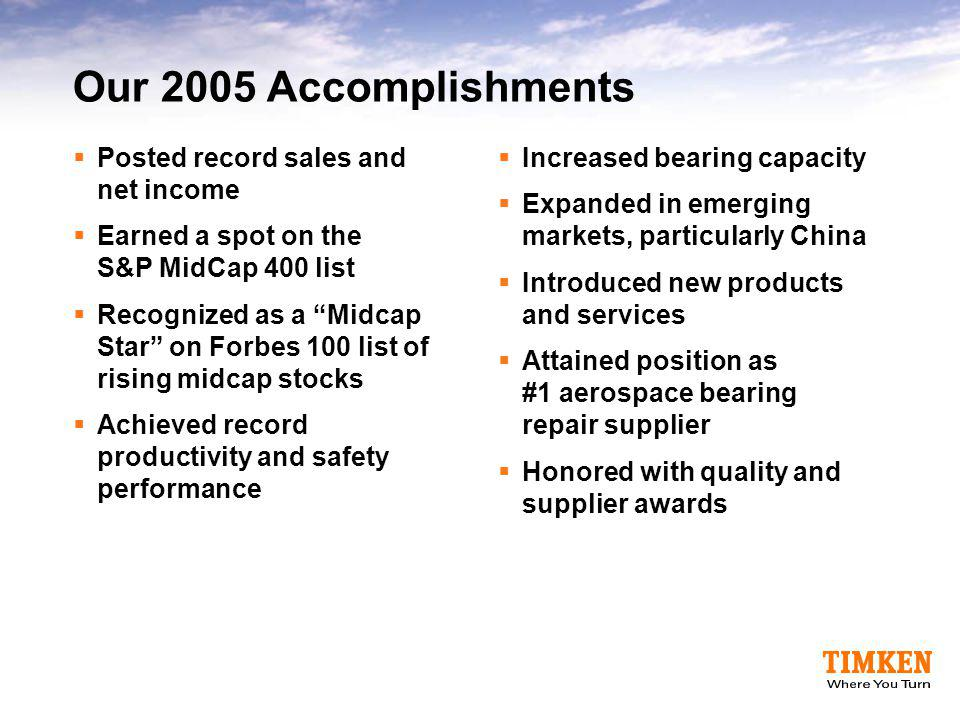 Our 2005 Accomplishments Posted record sales and net income