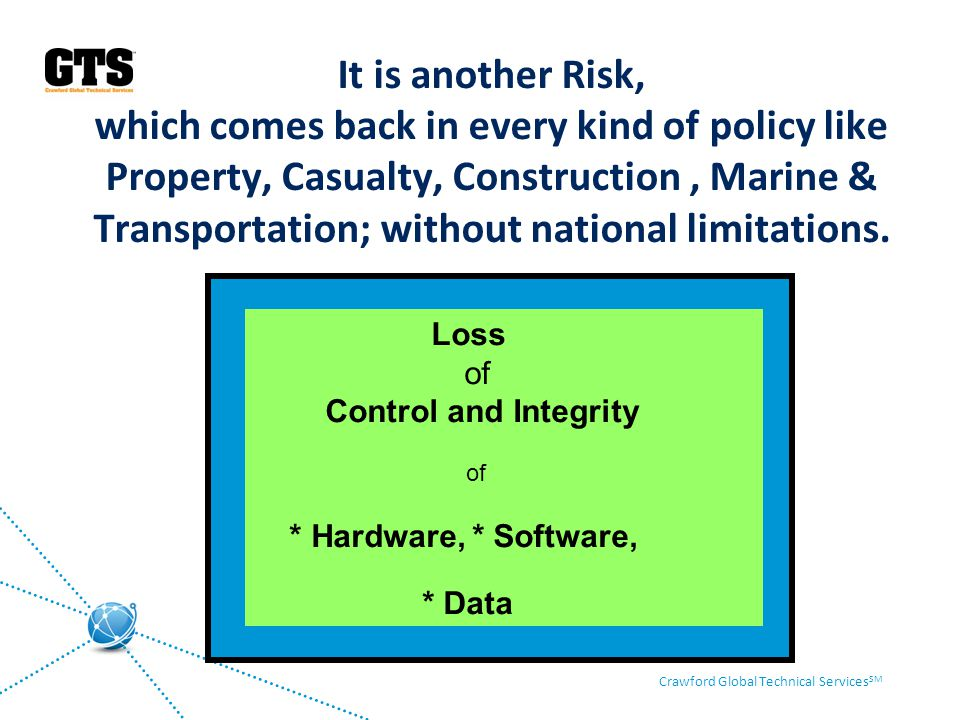 It is another Risk, which comes back in every kind of policy like Property, Casualty, Construction , Marine & Transportation; without national limitations.