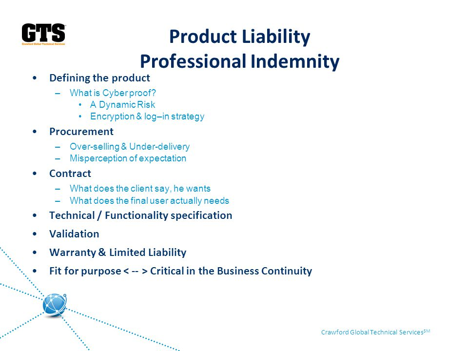 Product Liability Professional Indemnity