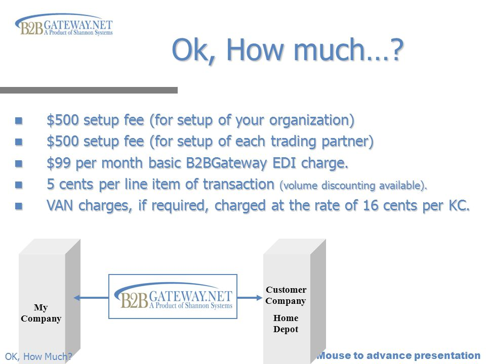 Ok, How much… $500 setup fee (for setup of your organization)