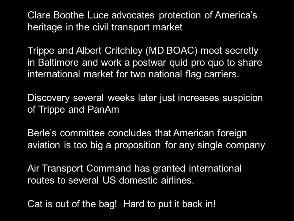 Clare Boothe Luce advocates protection of America's heritage in the civil transport market