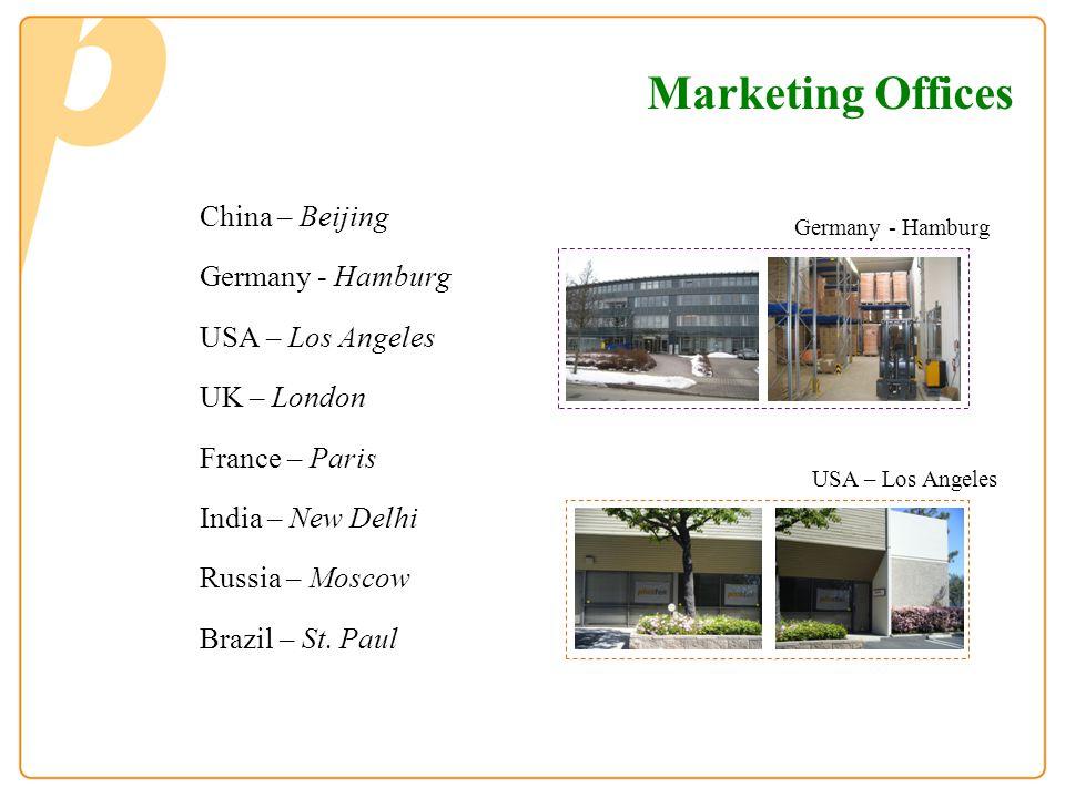 Marketing Offices China – Beijing Germany - Hamburg USA – Los Angeles