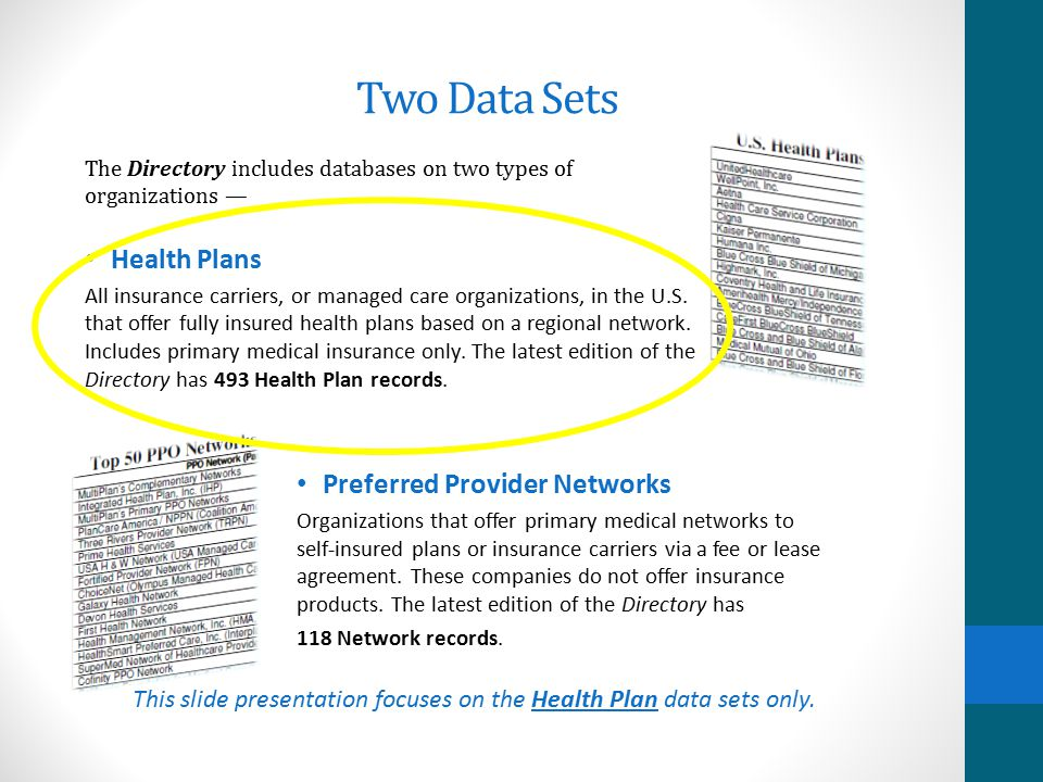 Two Data Sets Health Plans Preferred Provider Networks