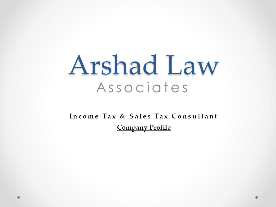 Income Tax & Sales Tax Consultant