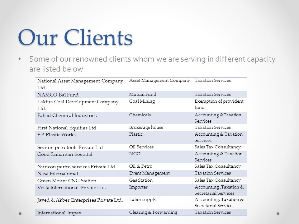 Our Clients Some of our renowned clients whom we are serving in different capacity are listed below.