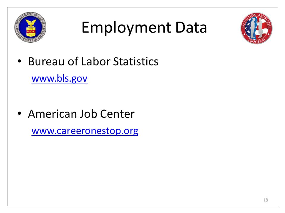 Employment Data Bureau of Labor Statistics American Job Center