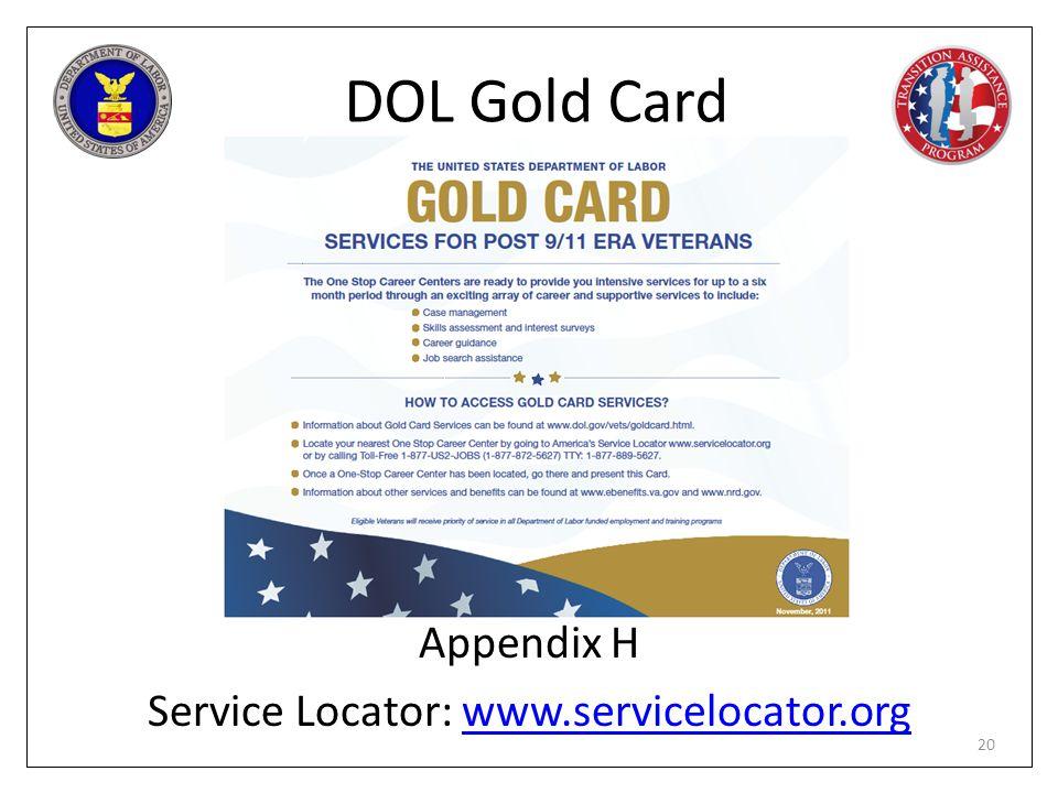 Appendix H Service Locator: www.servicelocator.org
