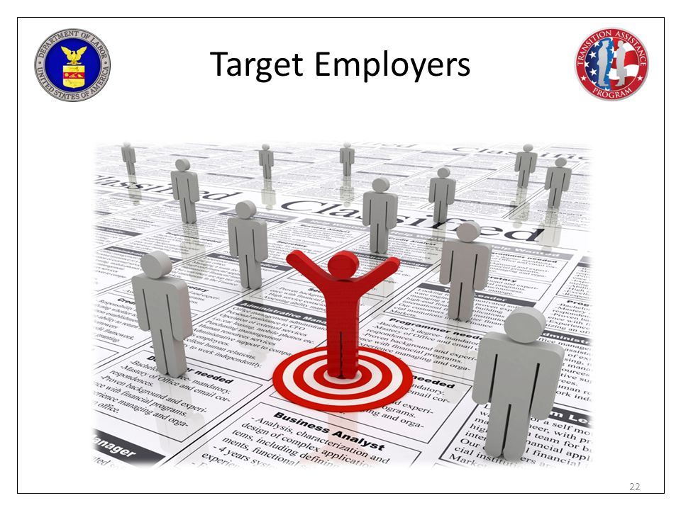 Target Employers Mandatory Exercise – Demonstrate VEC (www.ebenefits.va.gov/ebenefits.jobs) – fits in with job boards.