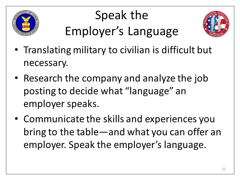 Speak the Employer's Language