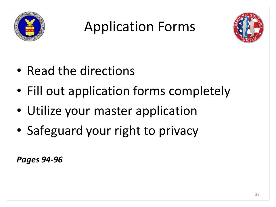 Application Forms Read the directions