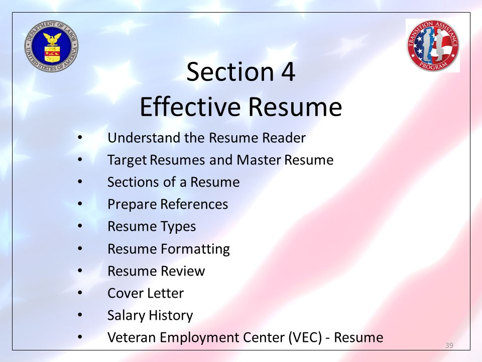 Section 4 Effective Resume