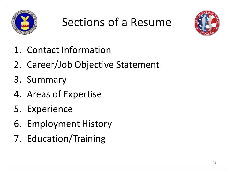 Sections of a Resume Contact Information. Career/Job Objective Statement. Summary. Areas of Expertise.