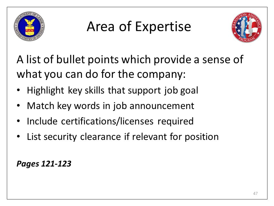 Area of Expertise A list of bullet points which provide a sense of what you can do for the company: