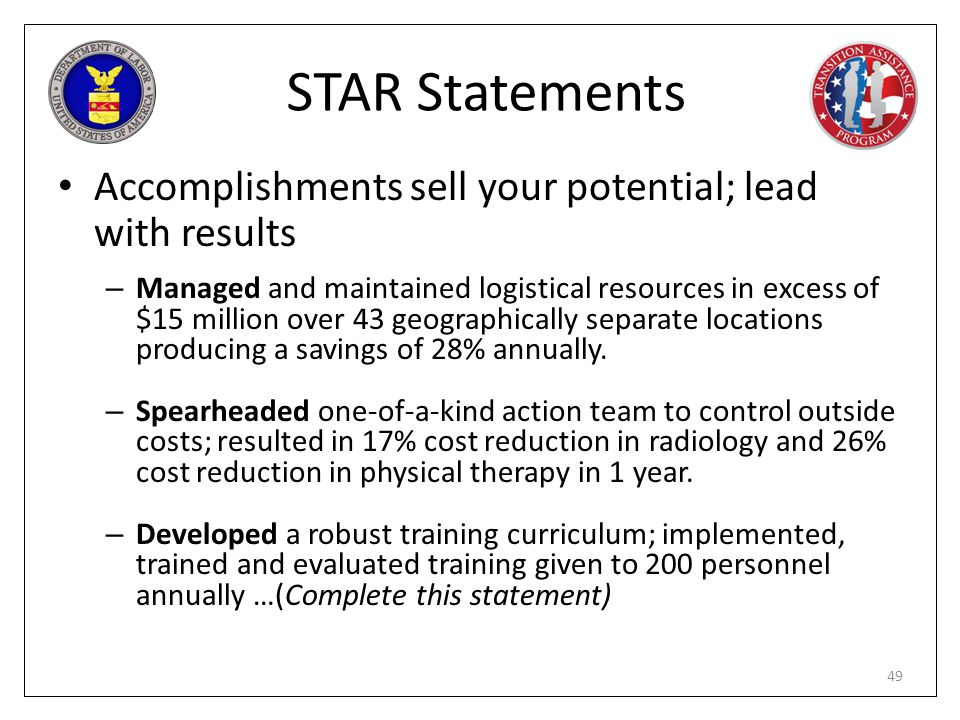 STAR Statements Accomplishments sell your potential; lead with results