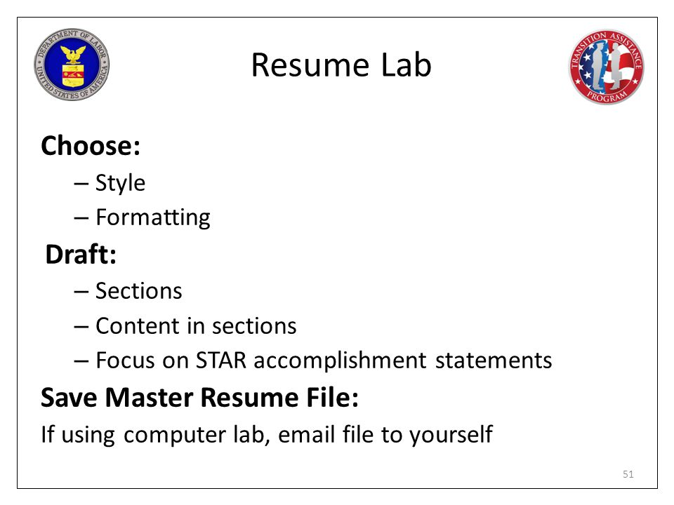 Resume Lab Choose: Draft: Save Master Resume File: Style Formatting