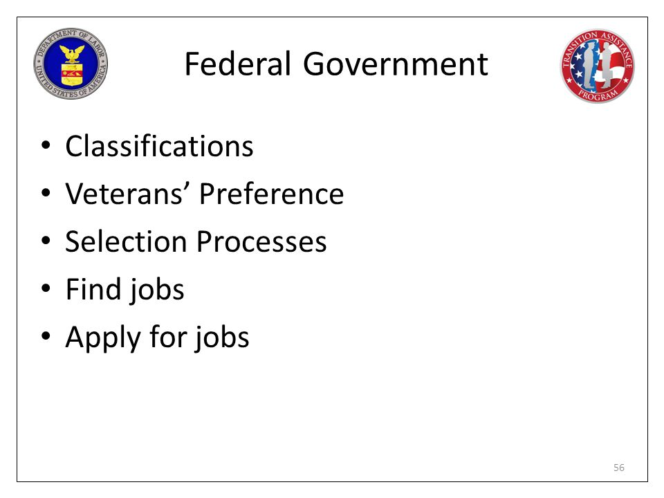 Federal Government Classifications Veterans' Preference