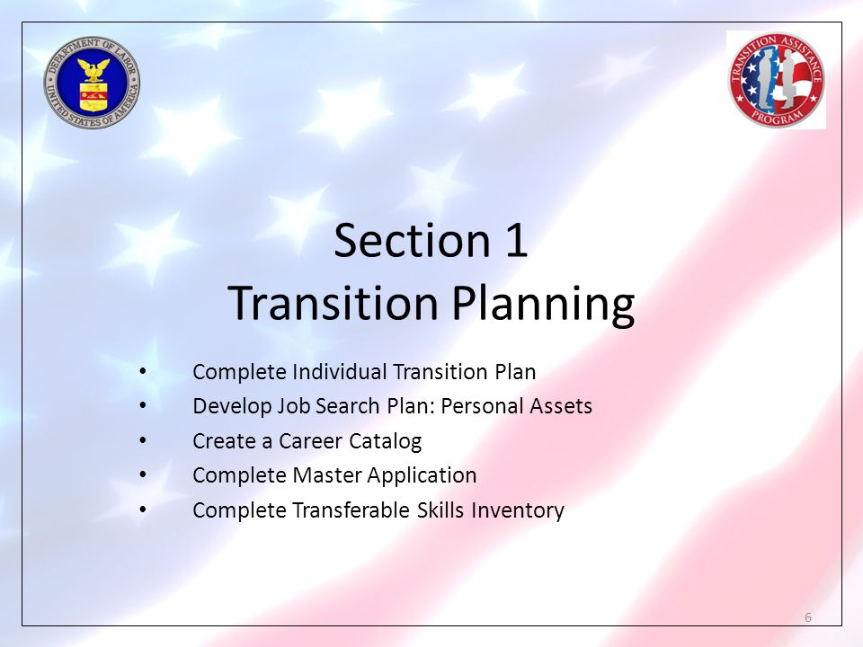 Section 1 Transition Planning