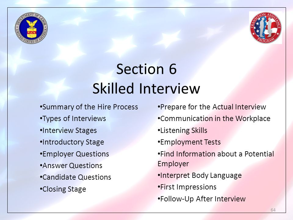 Section 6 Skilled Interview