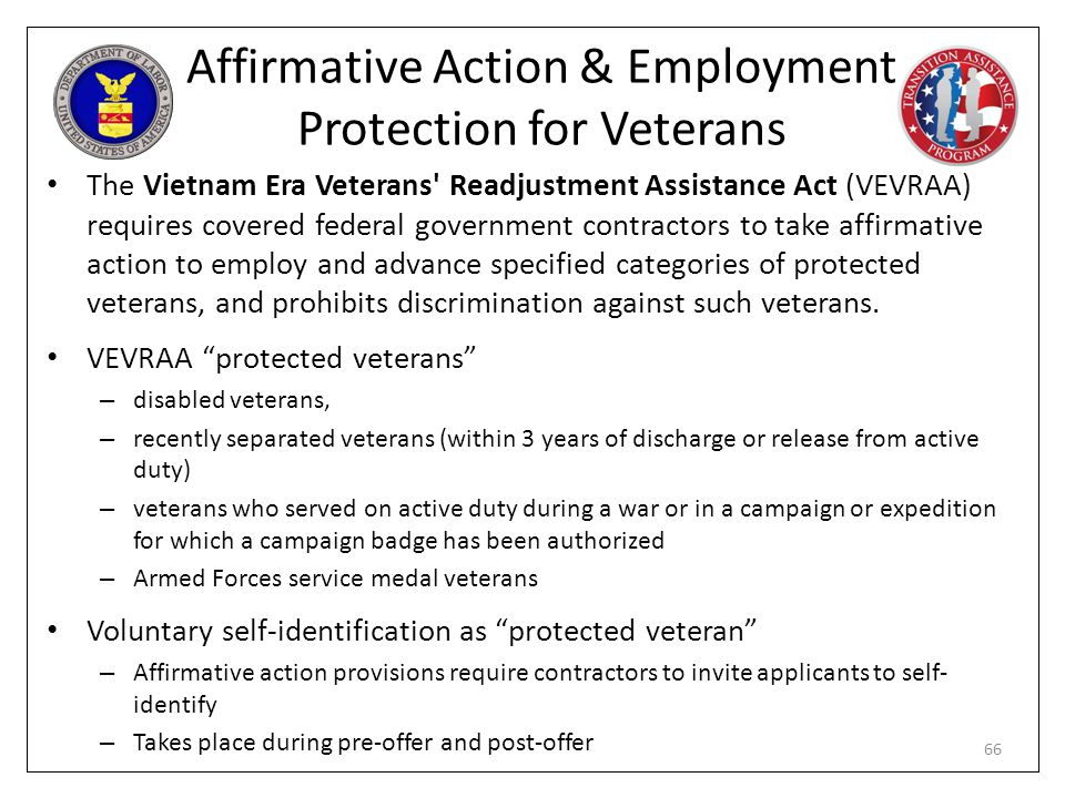 Affirmative Action & Employment Protection for Veterans