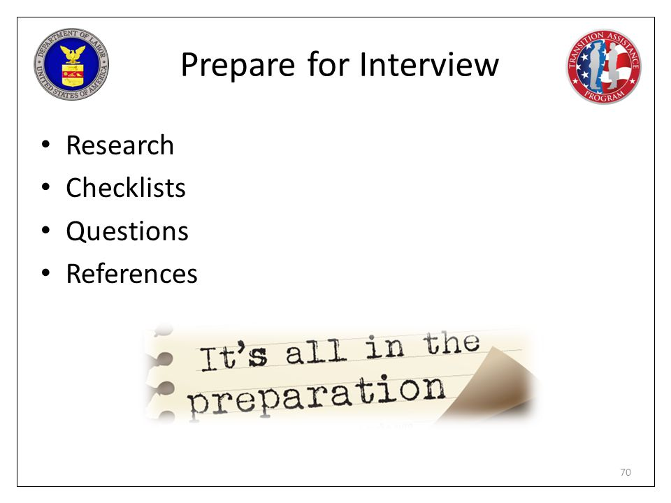 Prepare for Interview Research Checklists Questions References