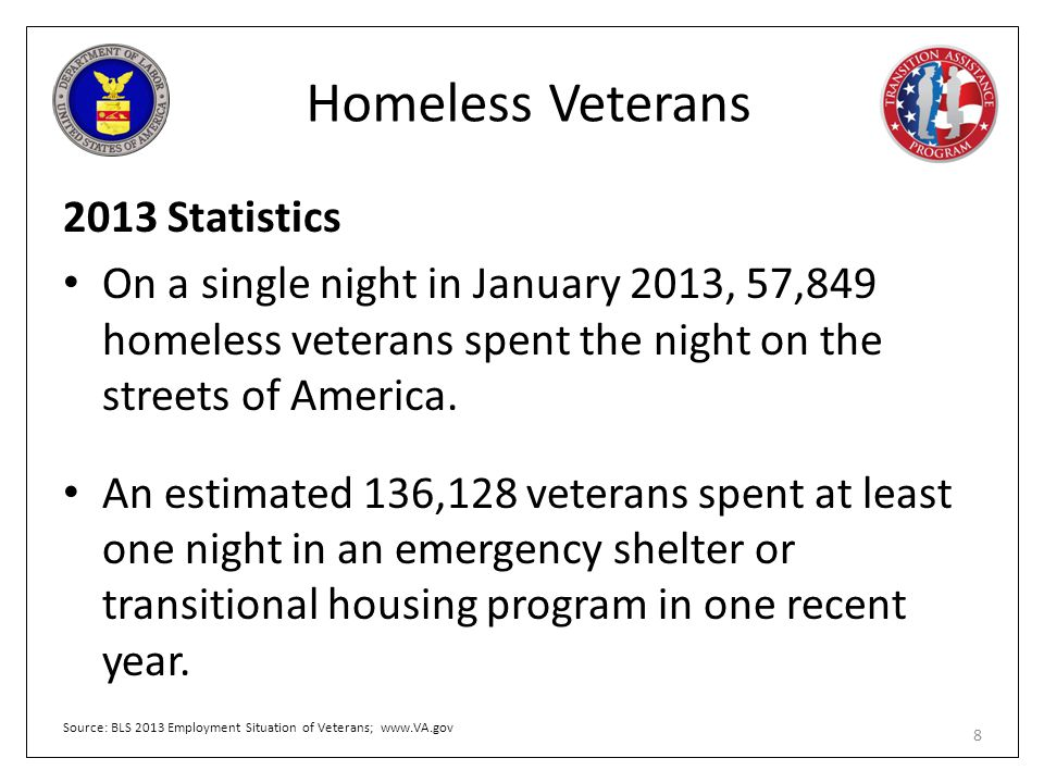 Homeless Veterans 2013 Statistics