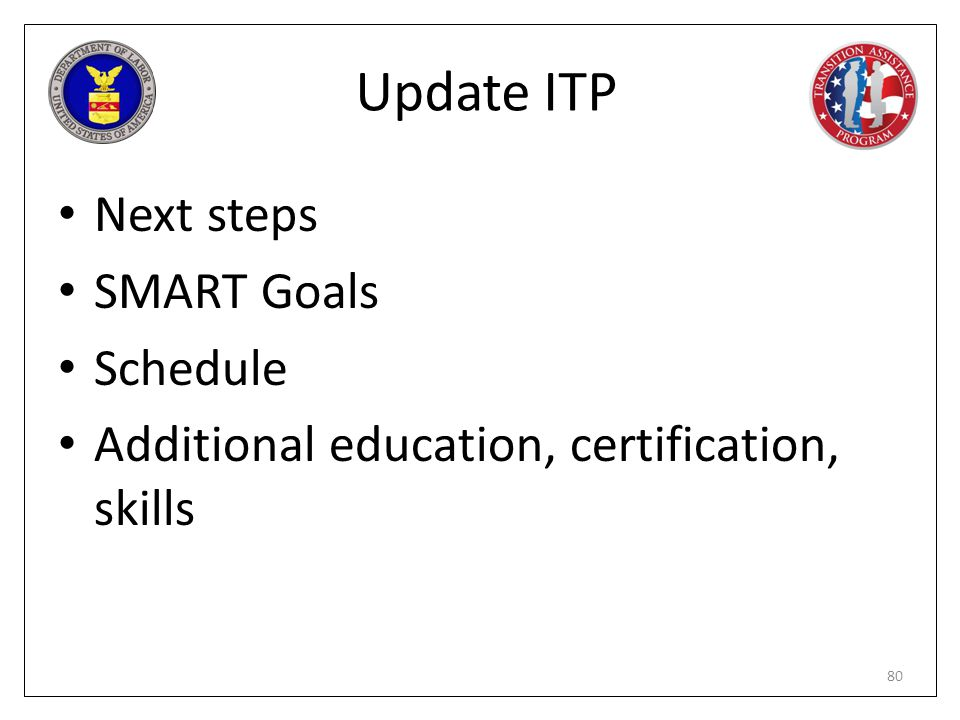 Update ITP Next steps SMART Goals Schedule