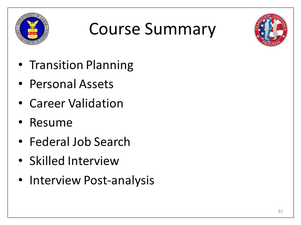 Course Summary Transition Planning Personal Assets Career Validation