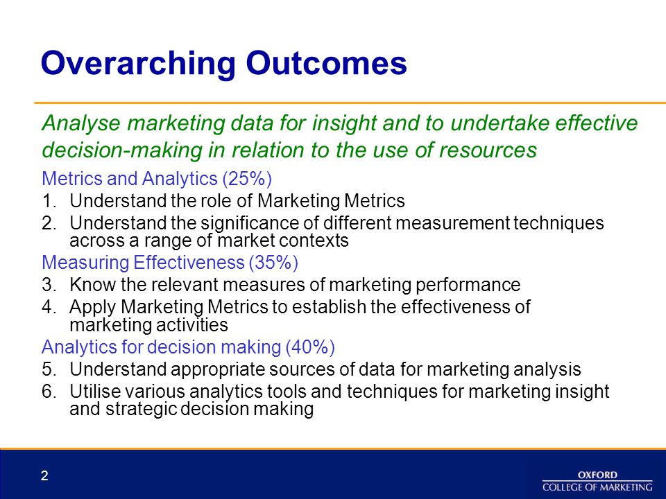 Overarching Outcomes Analyse marketing data for insight and to undertake effective decision-making in relation to the use of resources.