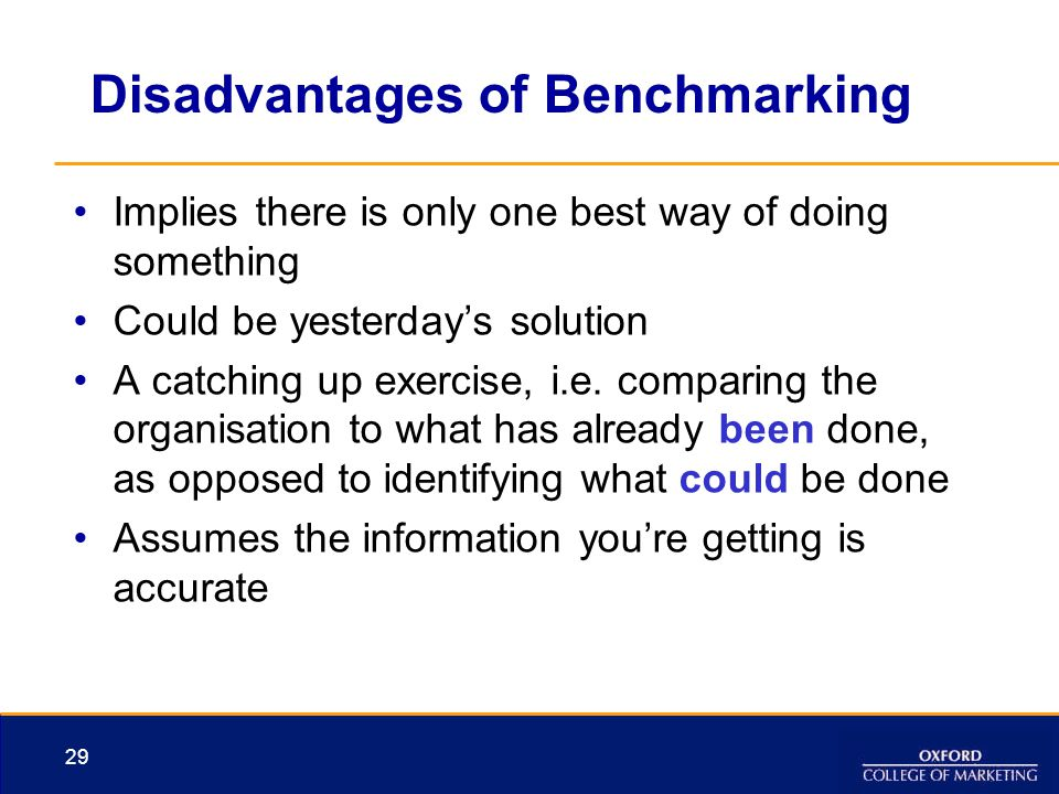 Disadvantages of Benchmarking