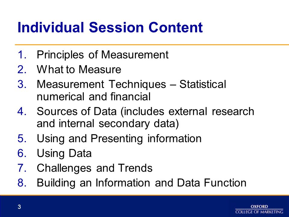 Individual Session Content