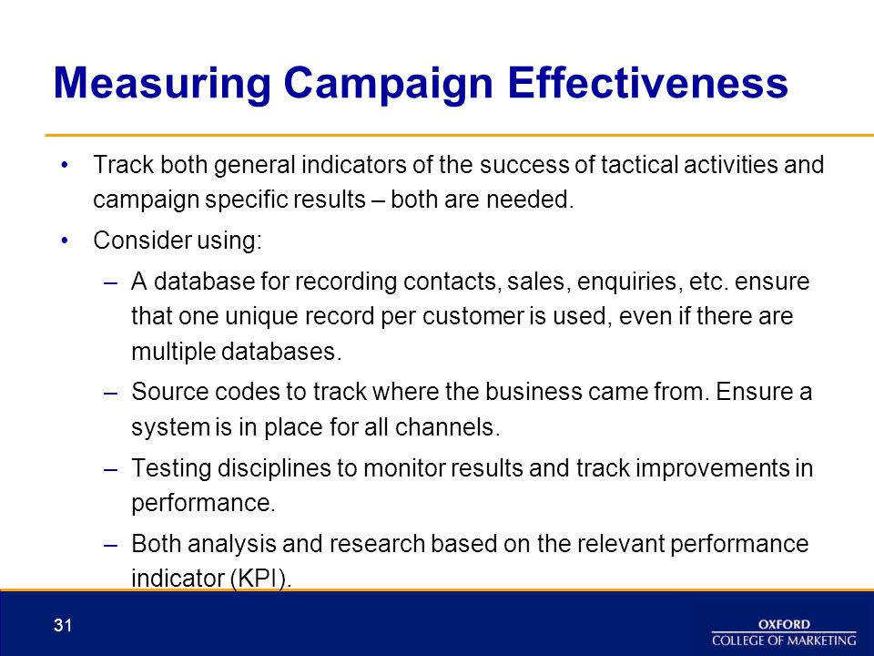 Measuring Campaign Effectiveness